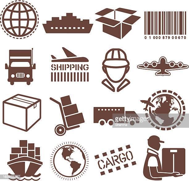 Vektor-illustration von Versand- und cargo-Symbole