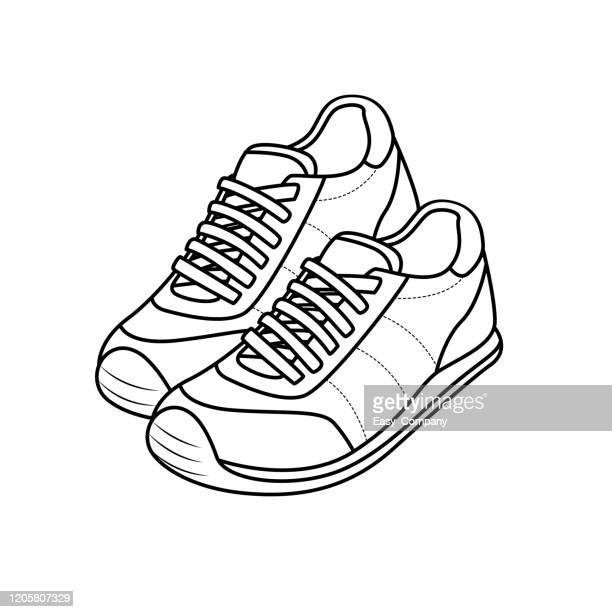 vector illustration of shoes isolated on white background for kids coloring book. - exercise book stock illustrations