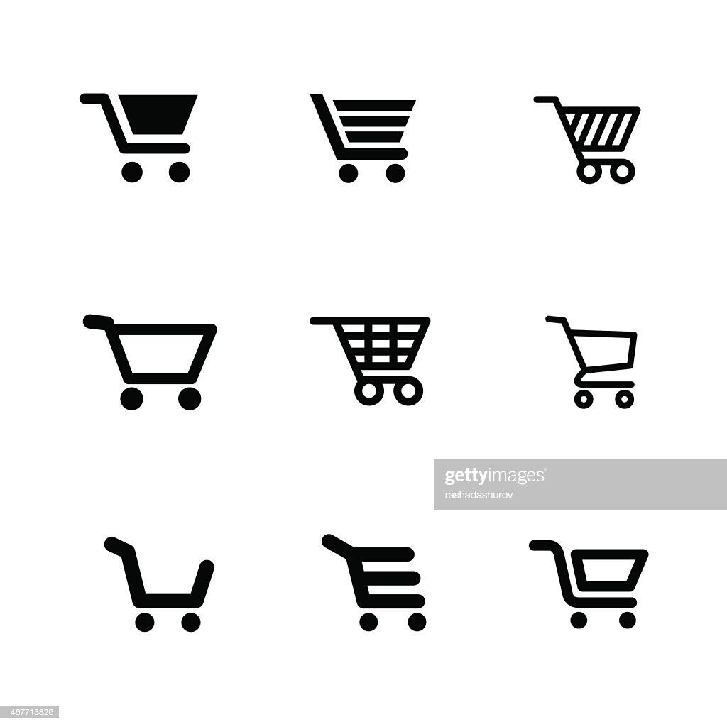 Vector illustration of shopping cart icons