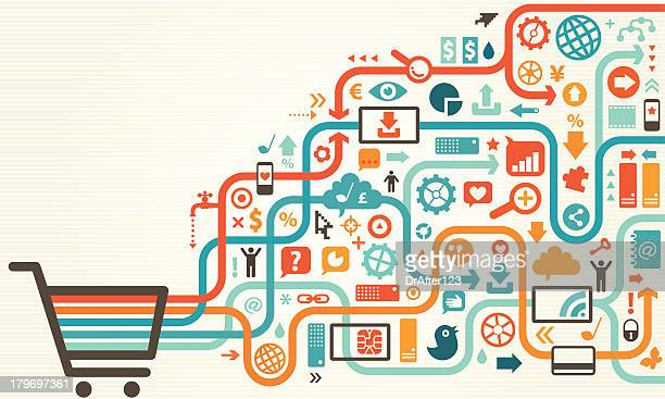 ilustrações, clipart, desenhos animados e ícones de ilustração em vetor de carrinho de compras com ícones - e commerce
