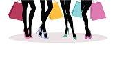 Vector illustration of Shopping girls