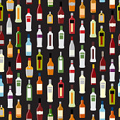 Vector Illustration of Silhouette Alcohol Bottle Seamless Patter