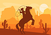Vector illustration of silhouette of cowboy catching wild horse at sunset with beautiful Wild west Texas desert on background in flat style.