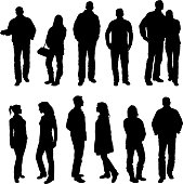 Vector illustration of silhouettes of people