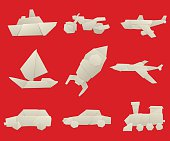 Vector illustration of simple origami paper vehicle and transport icons