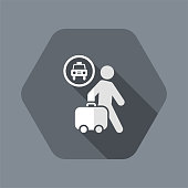Vector illustration of single isolated taxi station icon