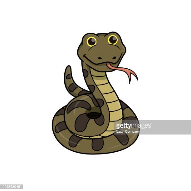 vector illustration of snake isolated on white background. - cartoon characters with big teeth stock illustrations