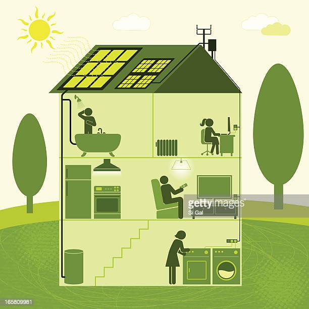 vector illustration of solar-powered house - boiler stock illustrations, clip art, cartoons, & icons