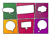Vector illustration of speech and thinking bubbles on a comic book background. Halftone effect with a pop-art feeling