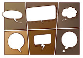 Vector illustration of speech and thinking bubbles on a old vintage comic book background. Halftone effect with a adult old comic book feeling