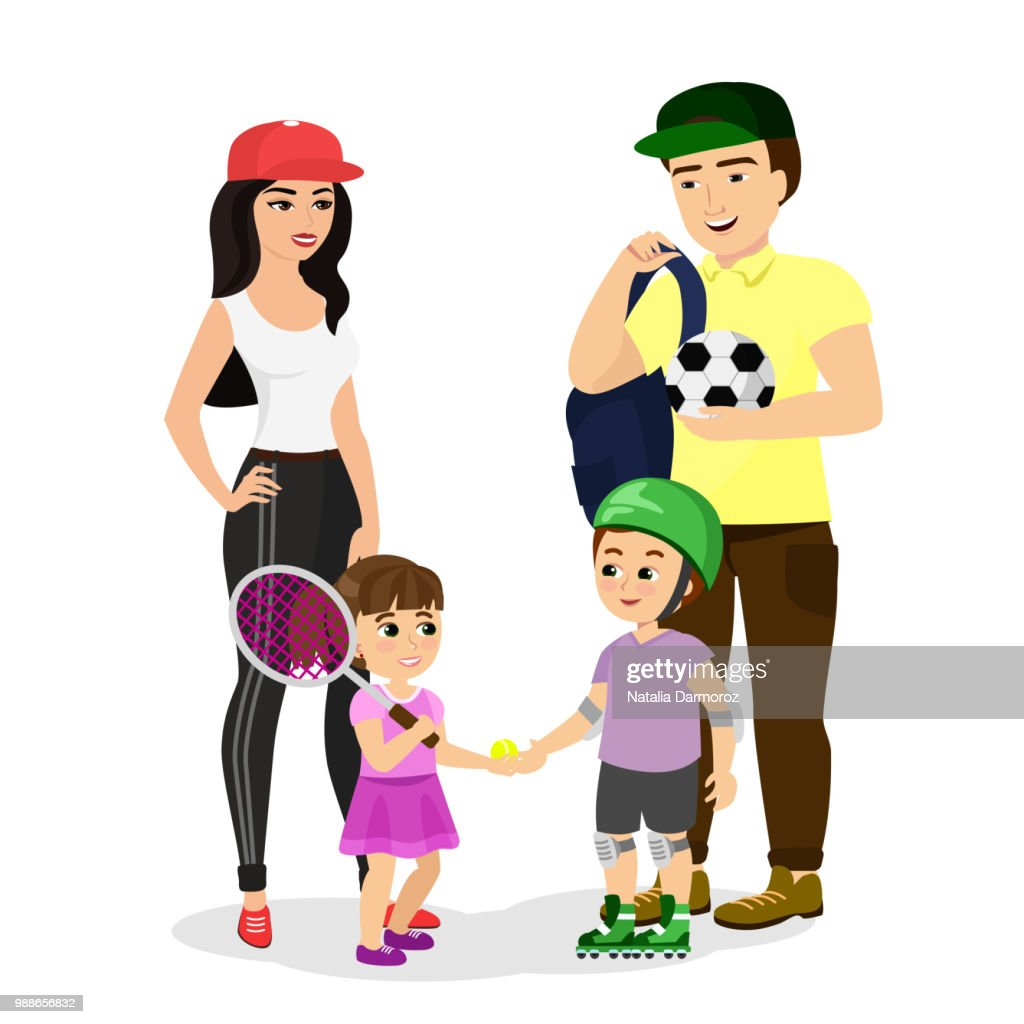Vector illustration of sport family. Dad, mother, son and daughter in sport clothes lead a healthy lifestyle. Happy parents with children do sports in a flat style.