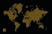 Vector Illustration of star dotted style world map isolated on gold background