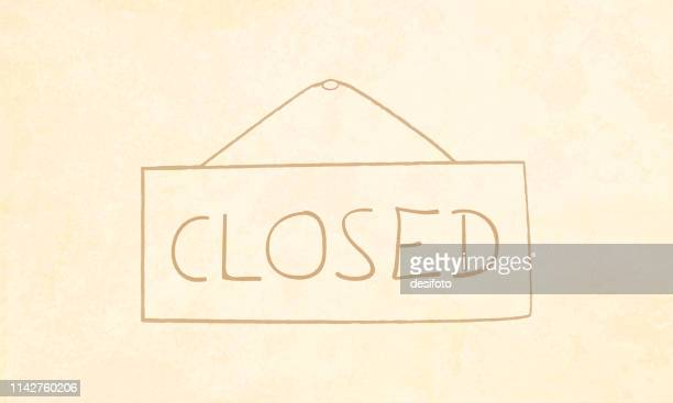 vector illustration of store closed sign board - closed sign stock illustrations, clip art, cartoons, & icons