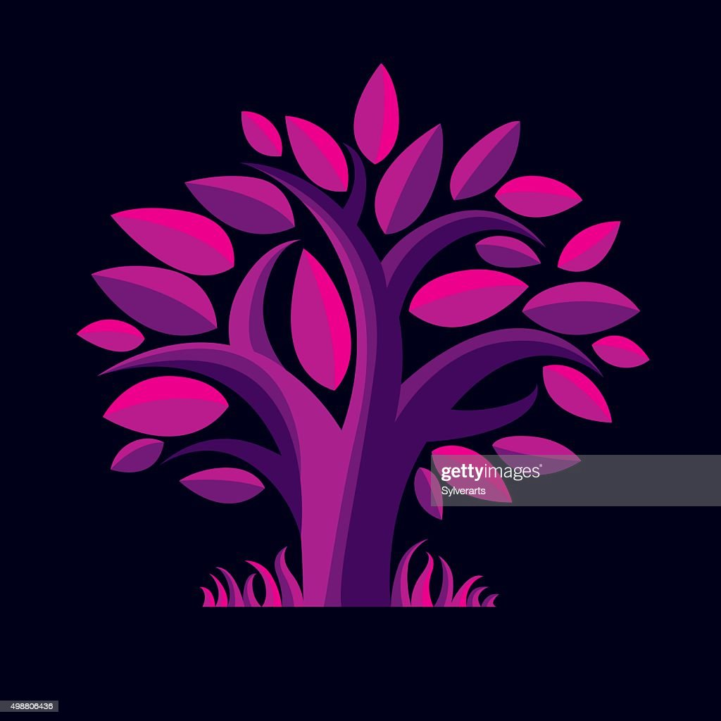 Vector illustration of stylized purple tree. Ecology