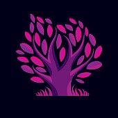 Vector illustration of stylized purple tree. Ecology