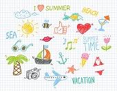 Vector Illustration of Summer Children's Drawings