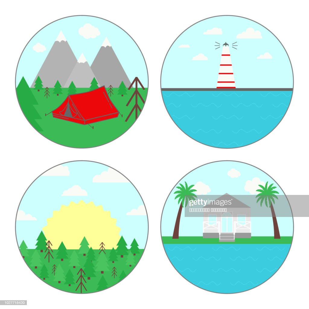 Vector illustration of summer vacation for campers, outdoor activity symbol. Set of four circle shape, Isolated.