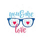 Vector illustration of sunglasses with hearts in glasses, text You