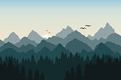 Vector illustration of sunrise in the mountains