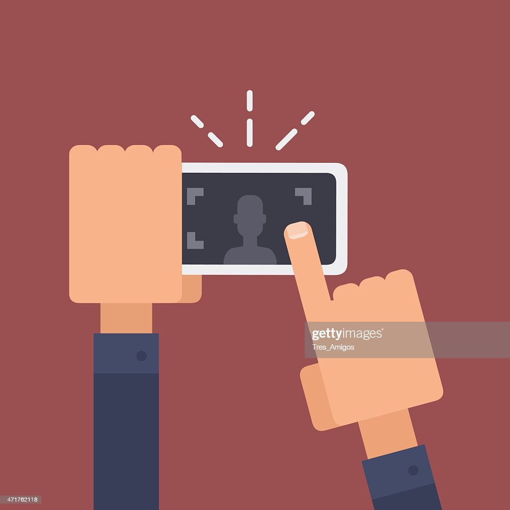 Vector illustration of taking a photo with smartphone