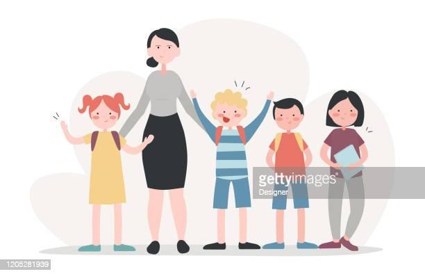 vector illustration of teacher and students concept. flat modern design for web page, banner, presentation etc. - female friendship stock illustrations