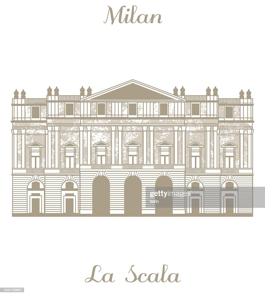 vector illustration of Teatro alla Scala in Milan