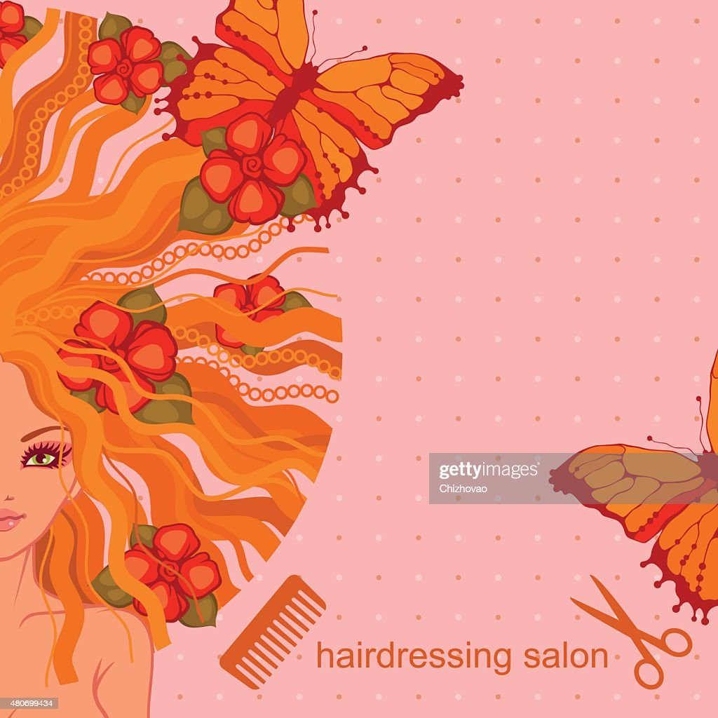 vector illustration of the beautiful girl for a hairdressing salon