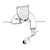 Vector illustration of the beaver like human in shirt holding a garden shovel and sleeping for coloring book