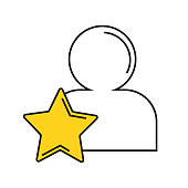 Vector illustration of the best worker. Icon with an image of a silhouette of a man and a golden star for an application, website, infographics, business-orientations on a white background