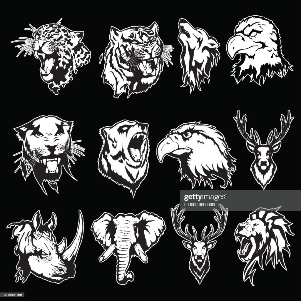 Vector illustration of the head of an eagle, an owl, a deer, a lion, a wolf, a tiger, a panther, a leopard, a bear, a rhinoceros and an elephant