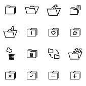 Vector illustration of thin line icons - folder