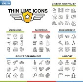 Vector illustration of thin line icons for cinema, family, cleaning, shopping, engineering, police department, airport. Linear symbols set on white background.