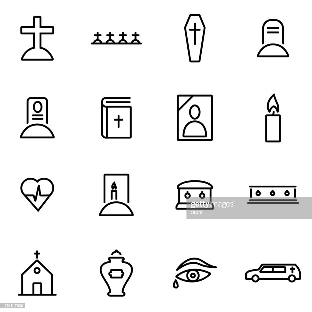 Vector illustration of thin line icons - funeral