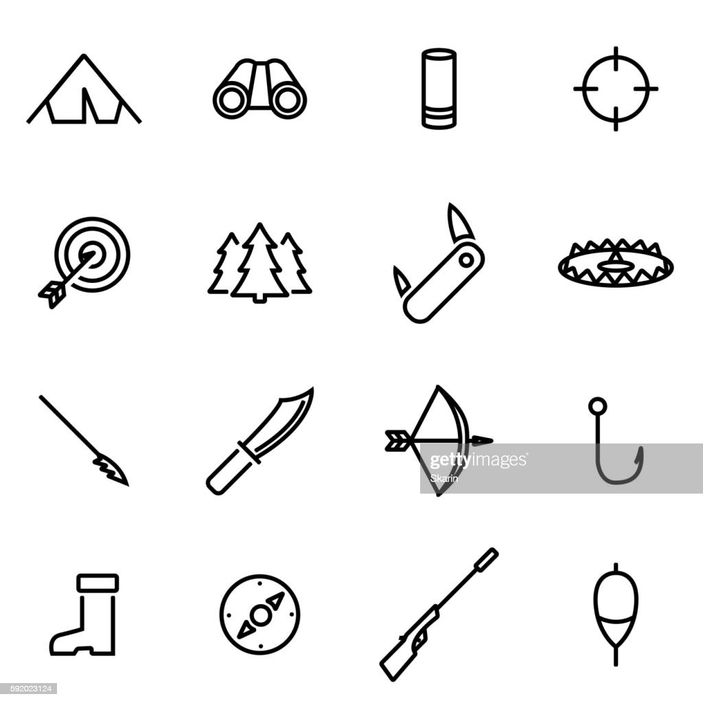Vector illustration of thin line icons - hunting