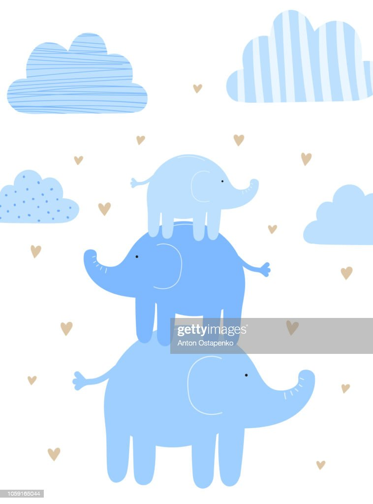 Vector illustration of three blue elephants among the clouds and hearts. Image for boys. Holiday concept, baby shower, birthday, wrappers, print, clothes, cards, banner, textile, flyer.