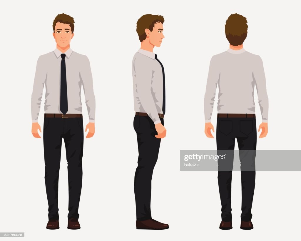 Vector illustration of three business men in official clothes. Cartoon realistic people illustartion.Worker in a shirt with a tie.Front view man,Side view man,Back side view man