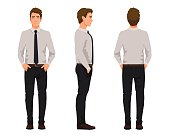 Vector illustration of three business men with hands in pockets, in official clothes. Cartoon realistic people illustartion.Worker in a shirt with a tie.Front view man,Side view man,Back side view man