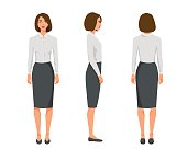 Vector illustration of three business woman with short hair in official clothes.Cartoon realistic people illustration.Flat young woman.Front view girl,Side view girl,Back side of girl