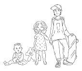 Vector illustration of three children of different ages. A girl and a boy. Teenager, infant and child.