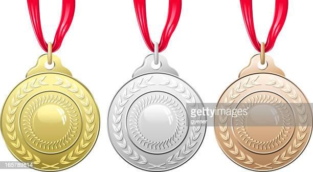 Vector illustration of three medals