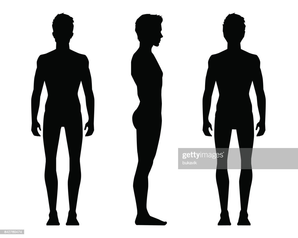 Vector illustration of three men sillouettes on the white background. Vector cartoon realistic people illustartion.  Sillouettes young man. Front view man, Side view man, Back side view man