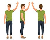 Vector illustration of three men with hand up in casual clothes under the white background. Cartoon realistic people illustartion. Flat young man. Front view man, Side view man, Back side view man