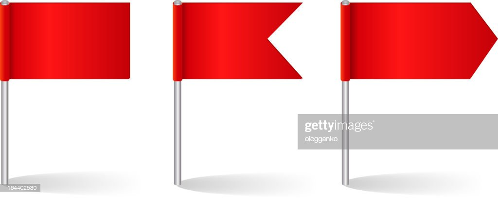 Vector illustration of three red flag options