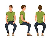 Vector illustration of three sitting men in casual clothes under the white background. Cartoon realistic people
