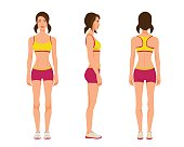 Vector illustration of three sport gir with two tails in sportswear under the white background.Cartoon realistic people illustration.Flat young woman.Front view girl,Side view girl,Back side view girl