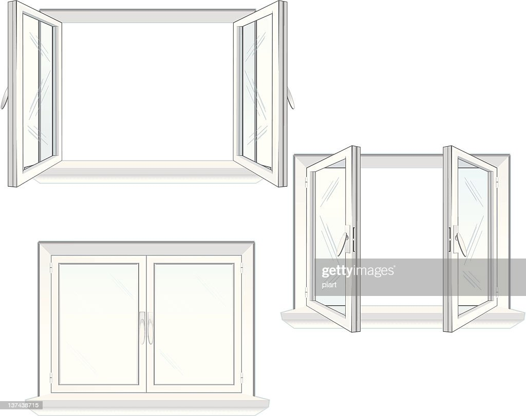 Vector illustration of three windows in open and close forms