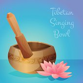 Vector illustration of tibetan singing bowl with wooden stick and