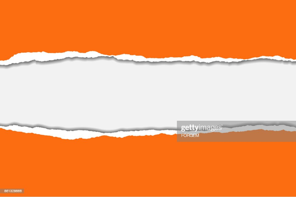 Vector illustration of torn orange paper with blue background isolated on white background suitable for text insertion