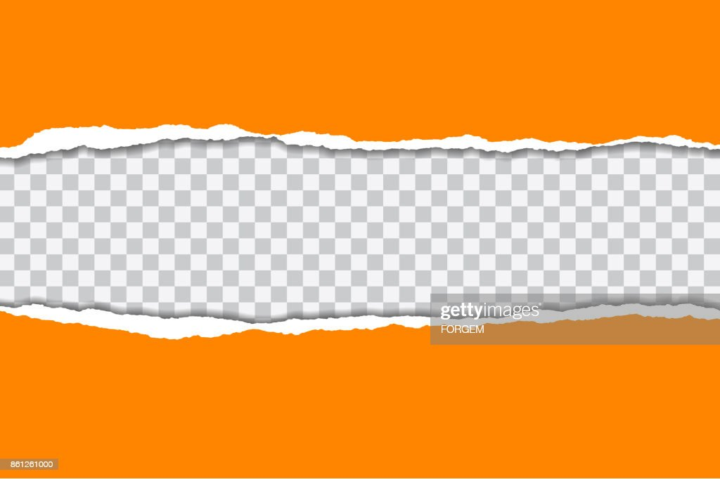 Vector illustration of torn orange paper with transparent background isolated on white background suitable for text insertion