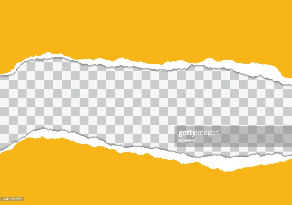 Vector illustration of torn yellow paper with Transparent background isolated on white background suitable for text insertion
